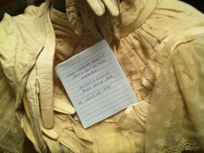 This lovely wedding dress was worn by Mary Frances Martin, who married schoolteacher and anti-renter, Homer Gallup, in Berne.
